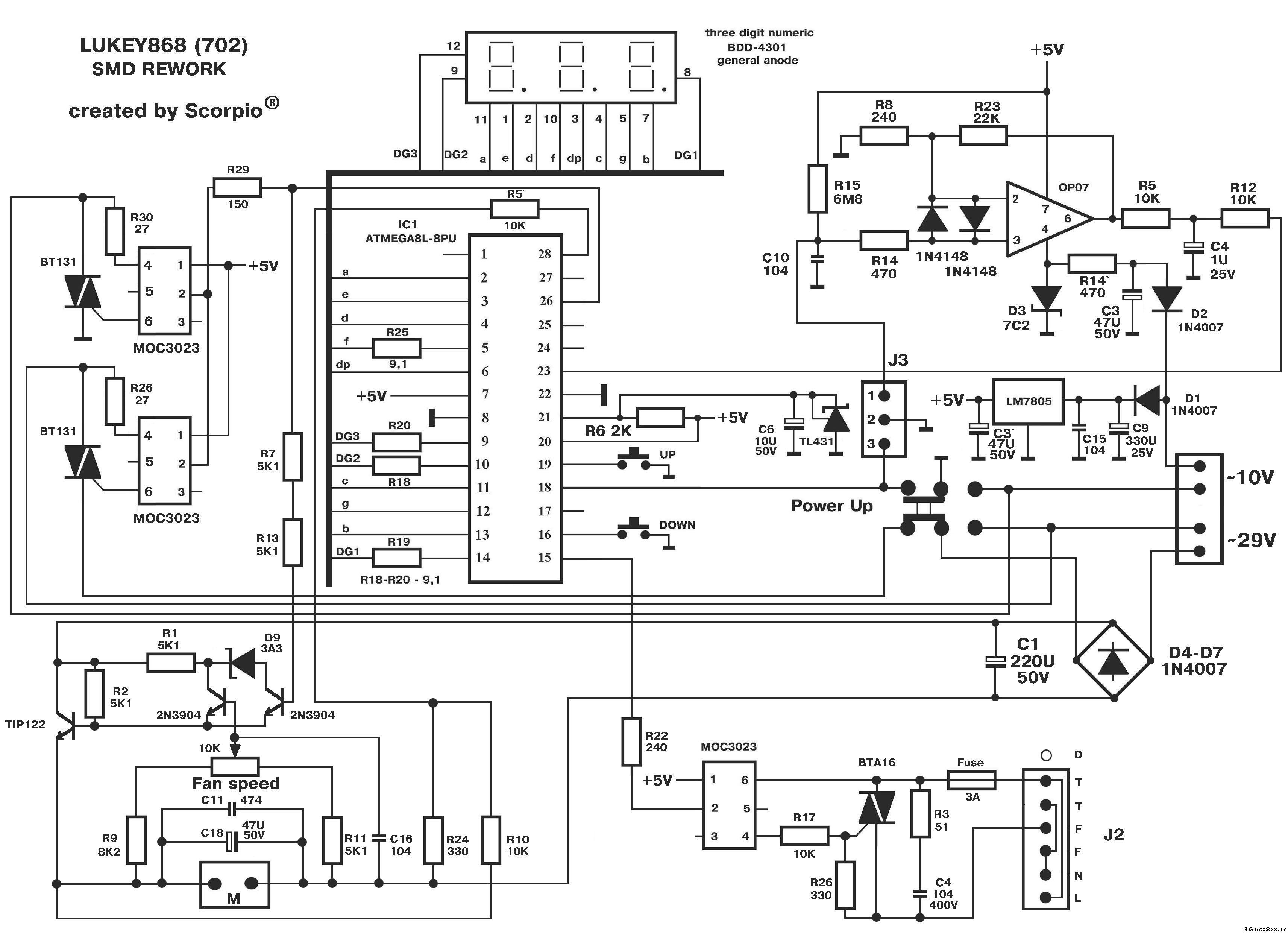 Схема паяльной станции baku 702b